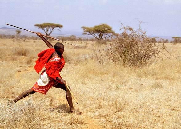 Le guerrier, sa sagaie, et la savane arboree... L'Afrique quoi ;)